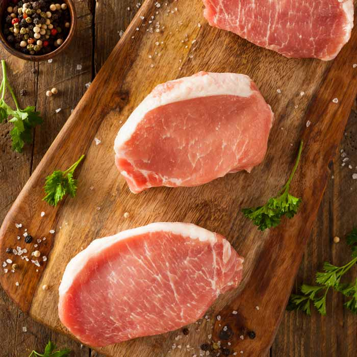 Boneless pork loin steaks