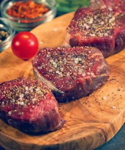 Peppered steaks